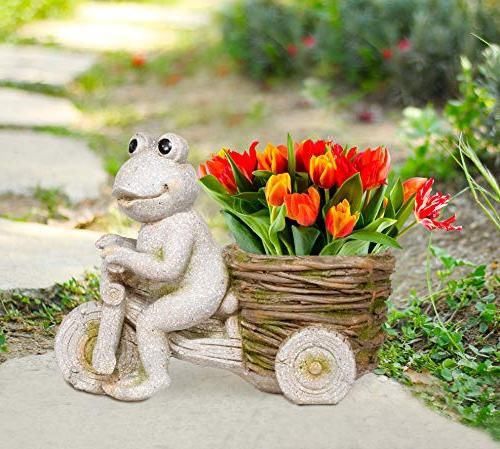 Alpine MZP406 Stone on Tricycle Basket Statue, 12 Tall Multi-Color