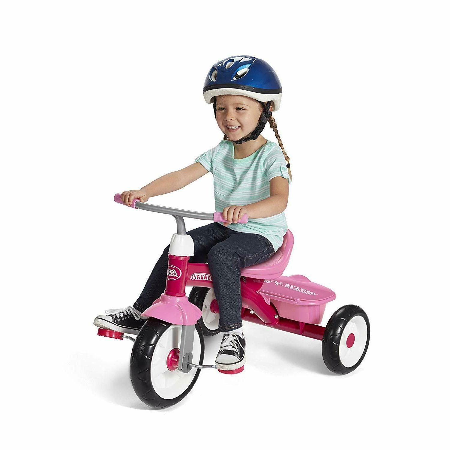 "Radio Flyer Classic Pink 10"" Dual Deck Tricycle, Toddler Kid"