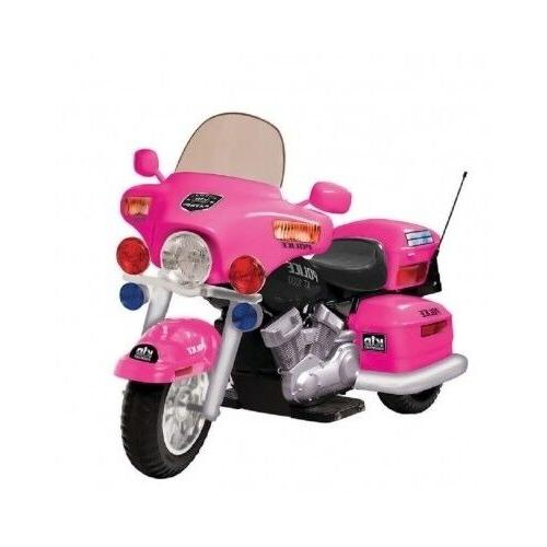 Kids Ride On Motorcycle Pink Battery Operated Electric Polic