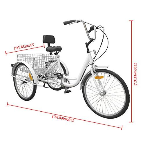 Iglobalbuy Adult Tricycle Bike Cruise with Basket
