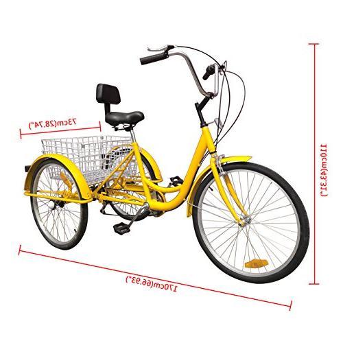 Iglobalbuy Yellow 3 Adult Tricycle Cruise