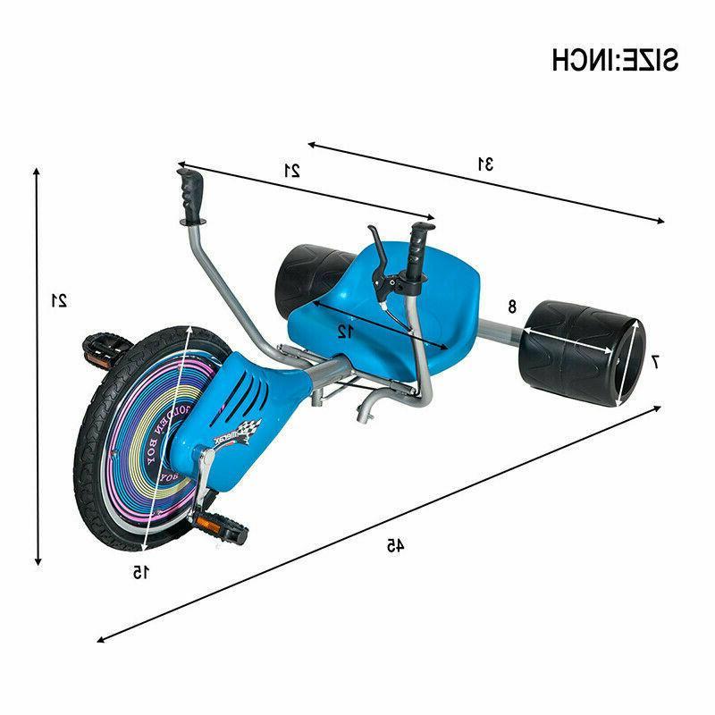 Scooter Teen Tricycle Boys Drift Trike Wheel Blue US