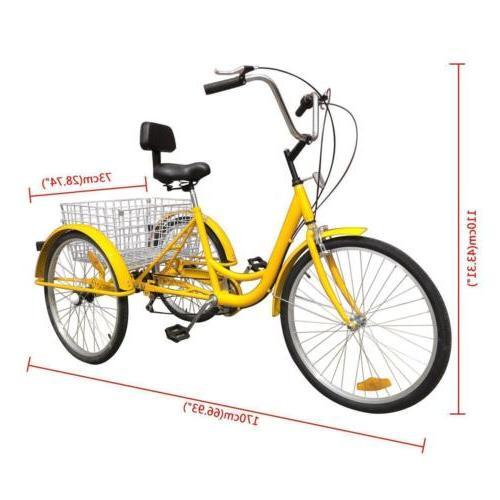 "Shimano 3Wheel Tricycle 7-Speed 24"" Adult Trike Cruise Bike"