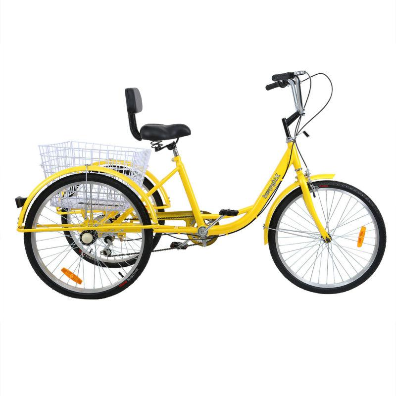 "7-Speed 24"" 3-Wheel Tricycle Trike Bicycle Cruise"