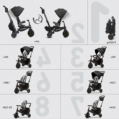 smarTrike smarTfold baby Tricycle 8 1 with Folding Black