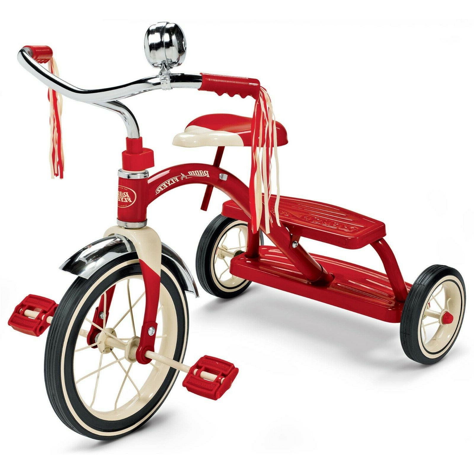 toddler bike classic red dual deck tricycle