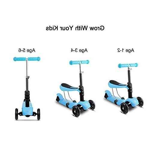 Hikole Scooter with Three-Wheeled Push Exercise Scooter with LED Wheels, Birthday Gift Up