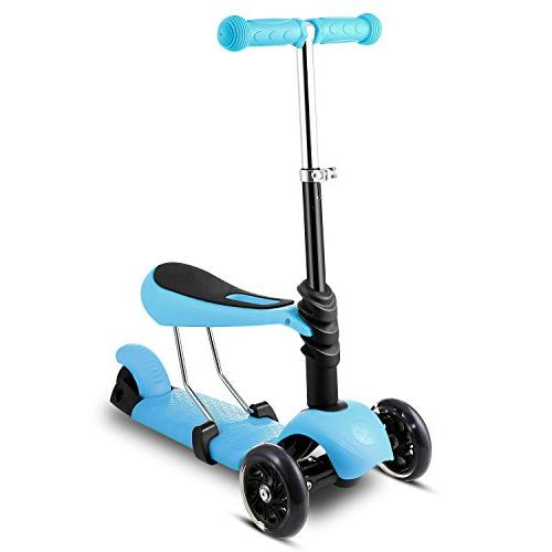Scooter with Seat | Three-Wheeled Push Exercise Toy Scooter with Wheels, Boys Up