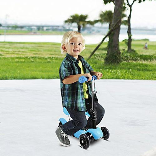 Hikole Scooter Three-Wheeled Mini Foldable Push Fun Scooter LED Wheels, Birthday Gift Boys Age 2