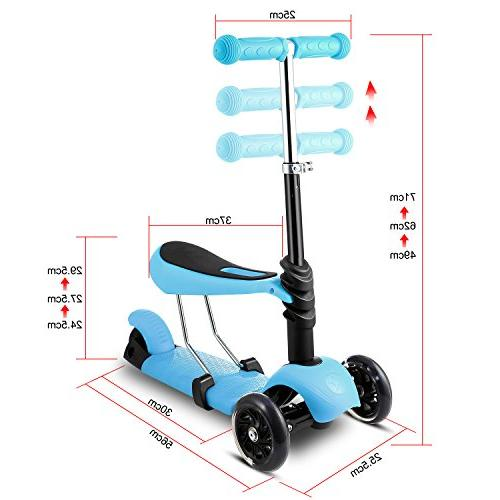 Hikole Kids Toddler Scooter Three-Wheeled Mini Foldable Adjustable Push Toy Scooter with Boys Girls Age Up