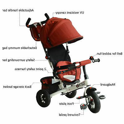 Qaba 2-in-1 On Push Toddler Steel Red