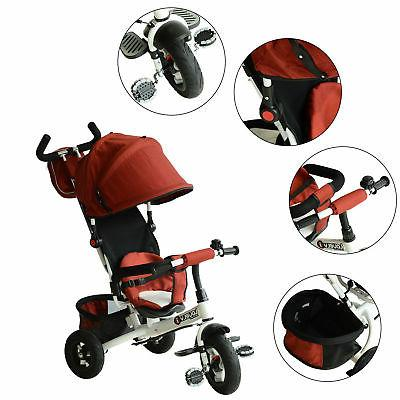 Qaba 2-in-1 On Trike Push Toddler Steel Play Red