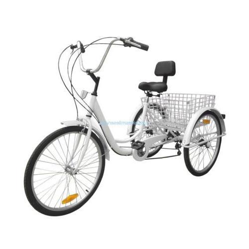 Unisex Adult 6-Speed Tricycle Trike Bike Basket