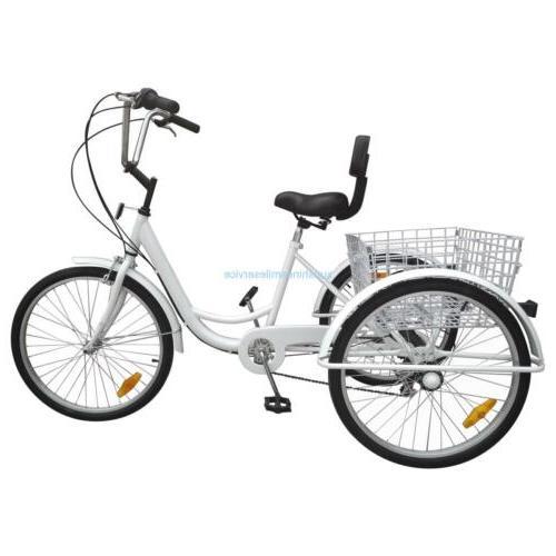 Unisex 3-Wheel 6-Speed Trike Bike Basket White