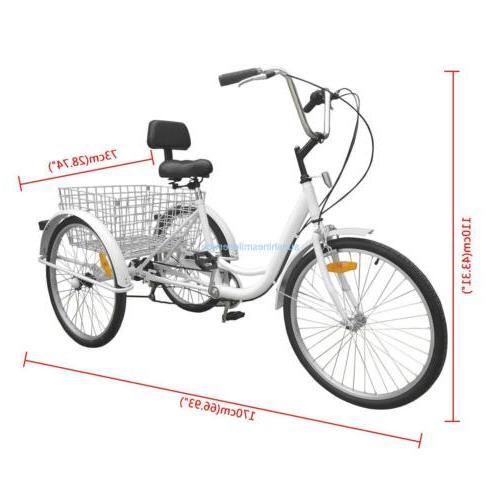 Unisex 3-Wheel 6-Speed Trike Bike