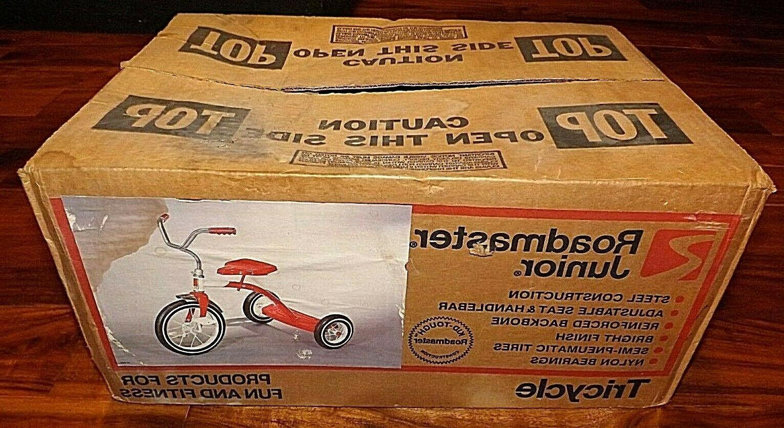 vintage junior metal tricycle red white new