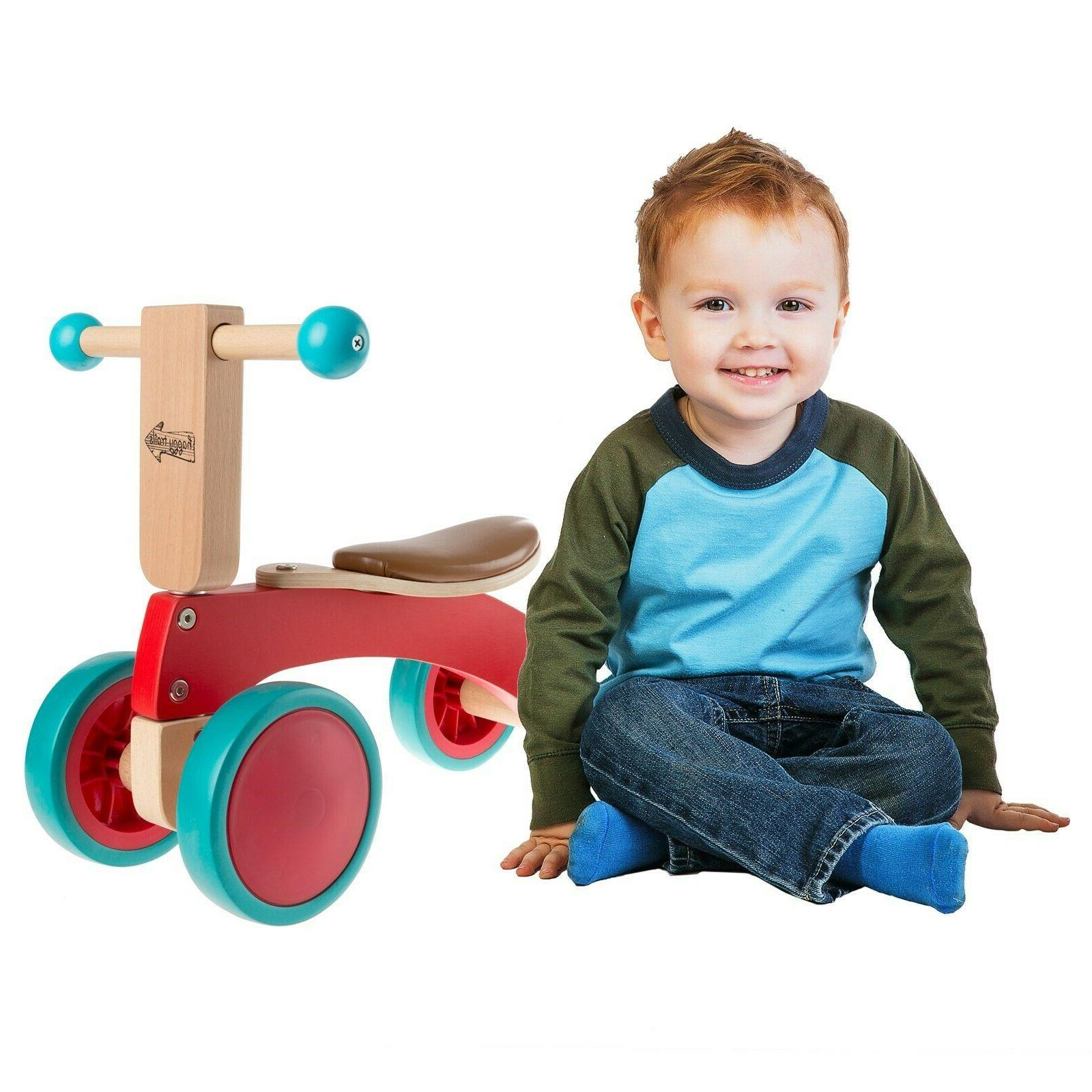 walk and ride wooden 4 wheel tricycle