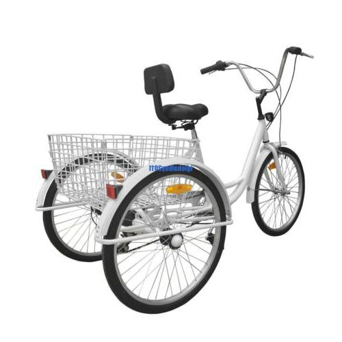 White Tricycle Adult Bike Bicycle Cruise 6-Speed W/ Basket