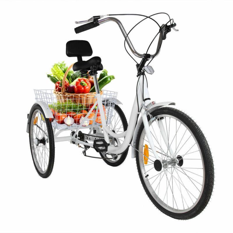 white 3 wheel 24 tricycle adult bike