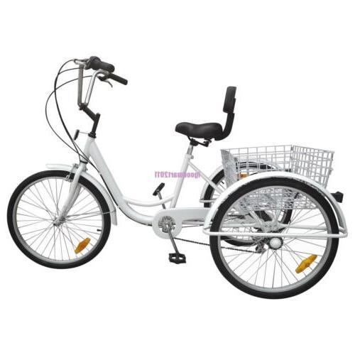 "Adult 3-Wheel Tricycle 24"" Large Basket Bicycle"