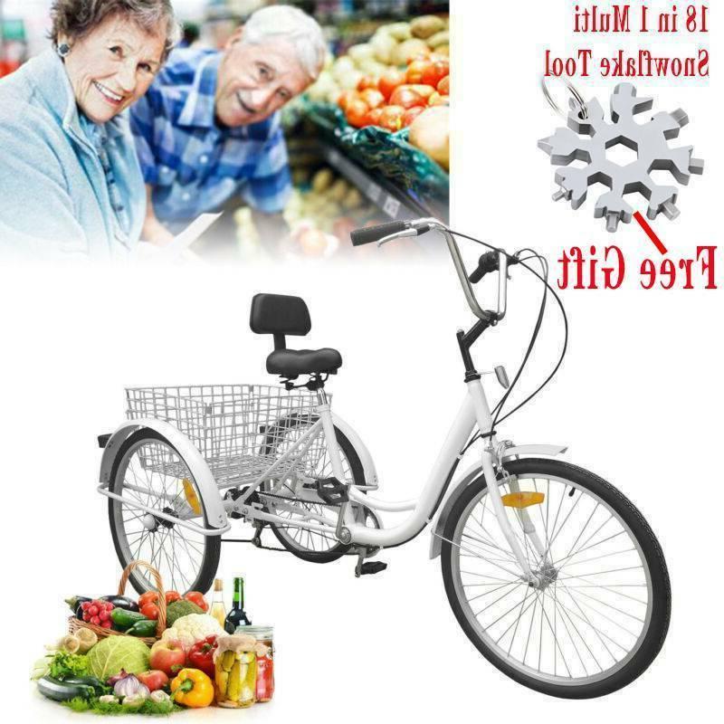white 3 wheel tricycle bike