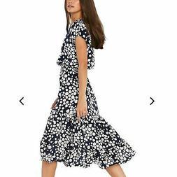 Misa Los Angeles Anali Blue & White Polka Dot Midi Dress Siz
