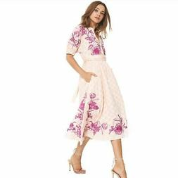 Misa Los Angeles Lusila Floral Embroidered Midi Dress Size S
