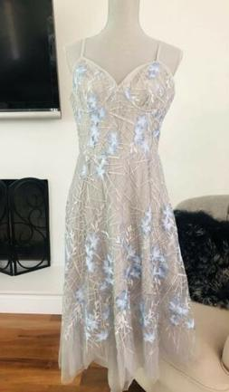 MEGHAN Los Angeles Midi Dress Tulle Gray Blue Floral Spaghet