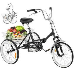 "Folding Adult Tricycle 20"" Portable Bike Bicycle 3-wheel Tri"