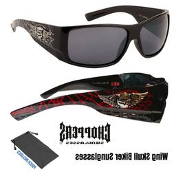 Men Choppers Hell Angel Wing Skull Wide Temple Motorcycle Bi