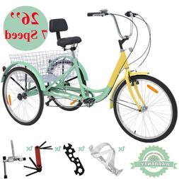 "26"" Adult Tricycle 7Speed 3 Wheel Bicycle Trike w/ Basket fo"