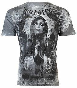 AFFLICTION Mens T-Shirt MOURNING Tattoo ANGEL WINGS Motorcyc