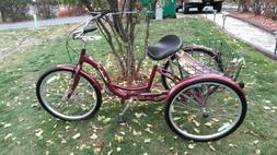 "Schwinn  Meridian 26""  Adult Tricycle black cherry local pic"