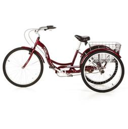 "Schwinn Meridian 26"" Adult Tricycle Cherry Basket Cruiser 3"