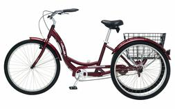 "New SCHWINN 26"" Meridian 3-Wheel Tricycle Adult Comfort Crui"