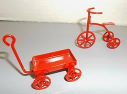 Miniature Doll House Red Metal Wagon,Tricycle, Lot of 2