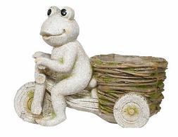 Alpine MZP406 Stone Frog on Tricycle w/Planter Basket Statue