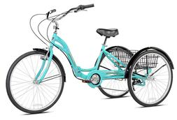 "NEW 26"" Kent Monterey Adult Folding Trike AQUA Tricycle 7 Sp"