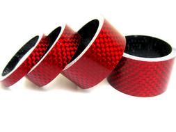 NEW 4 pcs Bicycle Bike Handle Bar Stem RED Carbon Spacers 1-