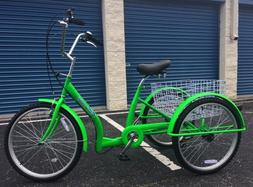 Green Adult Tricycle U Frame Dutch Design Easy Step Through
