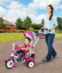 Full Shade Canopy Toddler Trike Pink High Back Seat Travel B