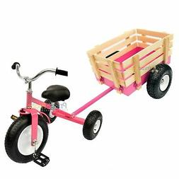 Pink Tricycle with Wagon Set Pull Along Trike Toy Outdoors K