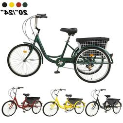 """Pro 20""""/24""""/26"""" Adult 7-Speed Tricycle 3 Wheels Trike Bicycl"""