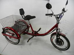 Red Electric tricycle scooter for adults, motorized trike, e