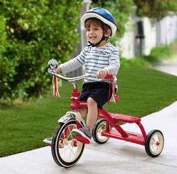 "Red Retro Low Tricycle for Kids 12"" Front Wheel Metal 2-5 Ye"