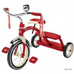 Red Tricycle Sturdy Steel Rubber Tires Chrome Classic Play O