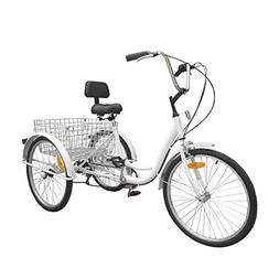 Ridgayard 6 Speed 24 Inch 3 Wheel Adult Tricycle Cruise Carg