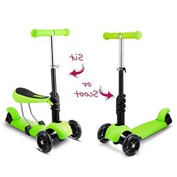 Hikole Scooter with Seat for Kids Toddlers   3-in-1 Foldable