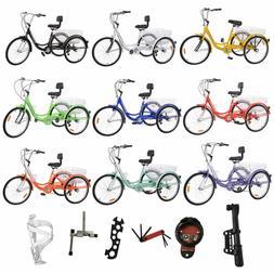 "Shimano 24""Adult Tricycle 3Wheel More Speed Bicycle Trike Ba"