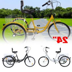 "Shimano 7-Speed Adult 24"" 3-Wheel Tricycle Trike Bicycle Bik"